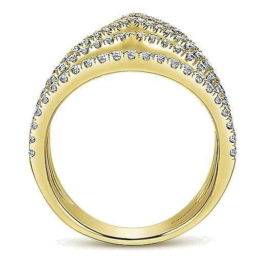14K Yellow Gold Multi Row Open Graduating Teardrops Diamond Ring