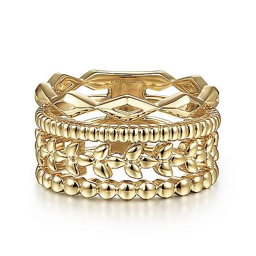 14K Yellow Gold Multi Row Wide Ring