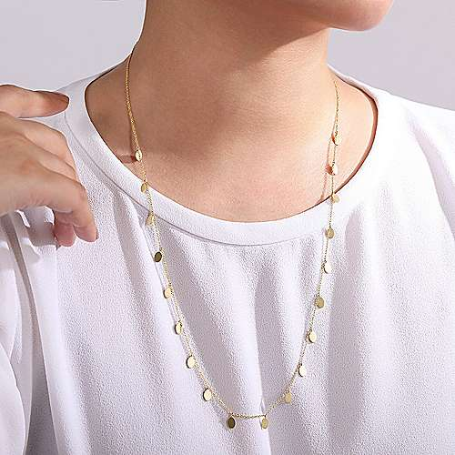 14K Yellow Gold Necklace with Oval Shape Drops