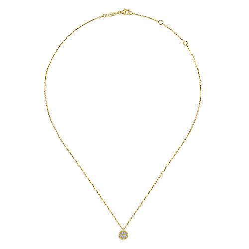 14K Yellow Gold Octagonal Diamond Pavé Pendant Necklace with Beaded Frame