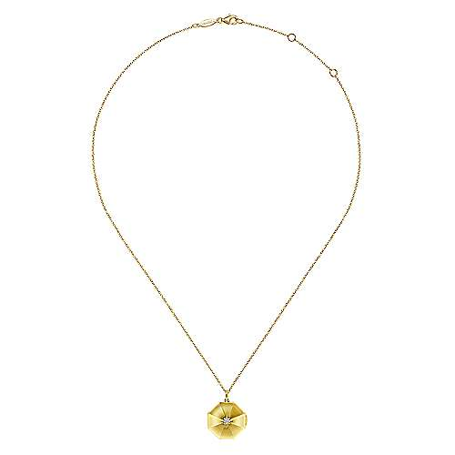14K Yellow Gold Octagonal Locket Necklace with Diamond Star Center