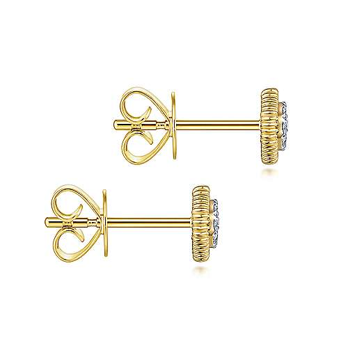 14K Yellow Gold Octagonal pave Diamond Stud Earrings