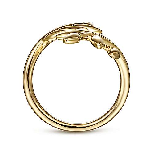 14K Yellow Gold Olive Leaf Bypass Ring