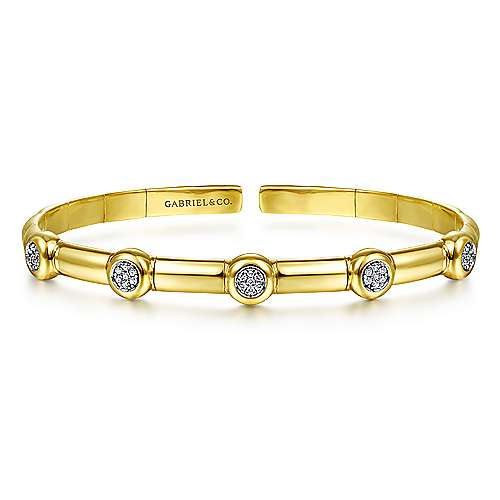 14K Yellow Gold Open Bangle with Diamond Stations
