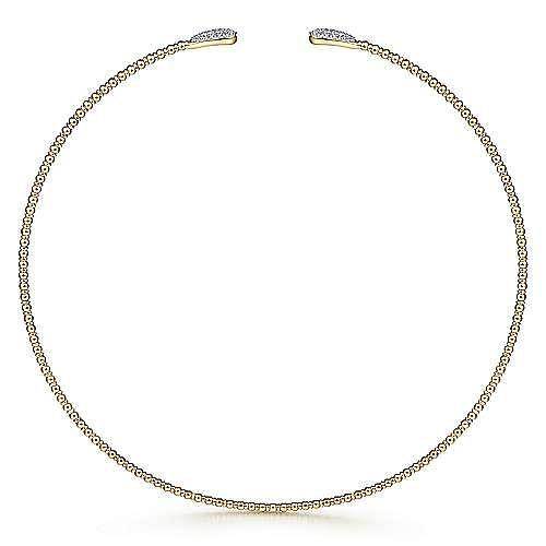 14K Yellow Gold Open Bujukan Beaded Choker Necklace with Pavé Diamond Teardrops