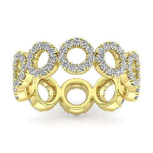 14K Yellow Gold Open Circle Diamond Eternity Ring