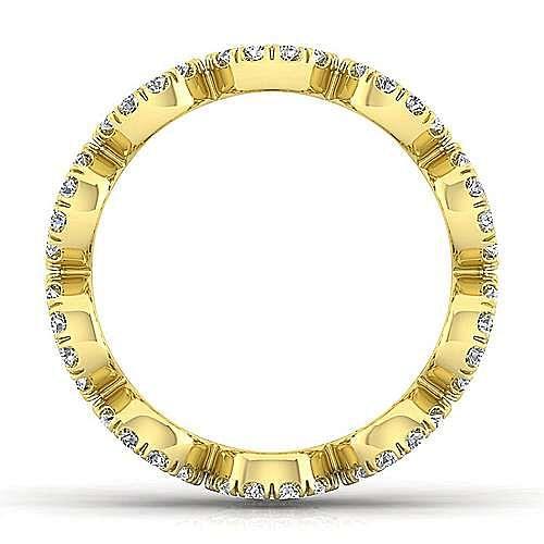 14K Yellow Gold Open Circle Diamond Eternity Ring