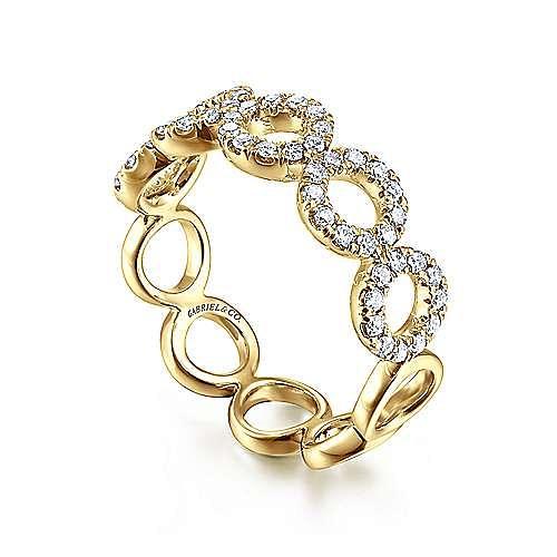 14K Yellow Gold Open Circle Diamond Ring