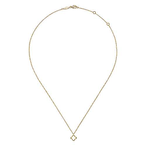 14K Yellow Gold Open Clover Pendant Necklace