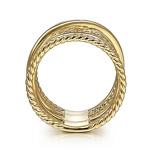 14K Yellow Gold Open Criss Crossing Twisted Rope Wide Band