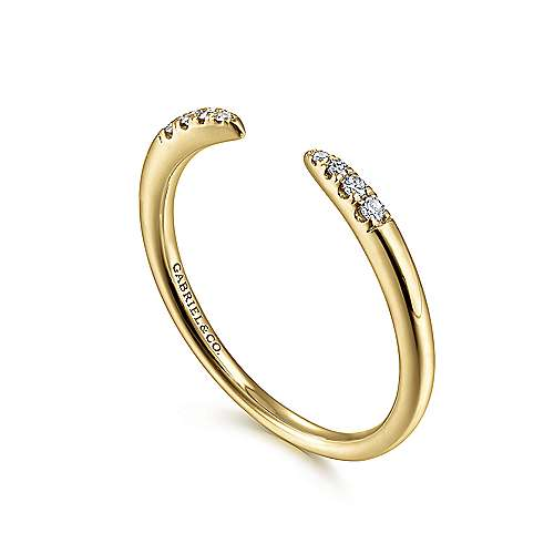 14K Yellow Gold Open Diamond Tipped Stackable Ring