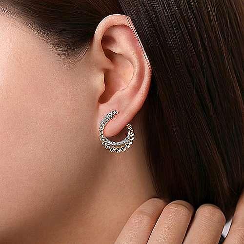 14K Yellow Gold Open Double Row Ball and Diamond Post Earrings