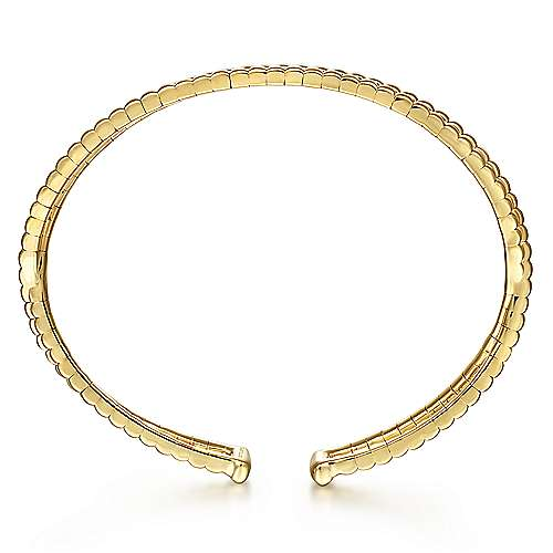 14K Yellow Gold Open Double Row Textured Bangle