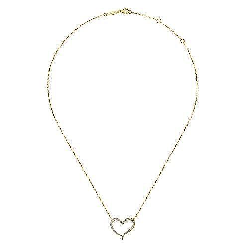 14K Yellow Gold Open Heart Diamond Pendant Necklace