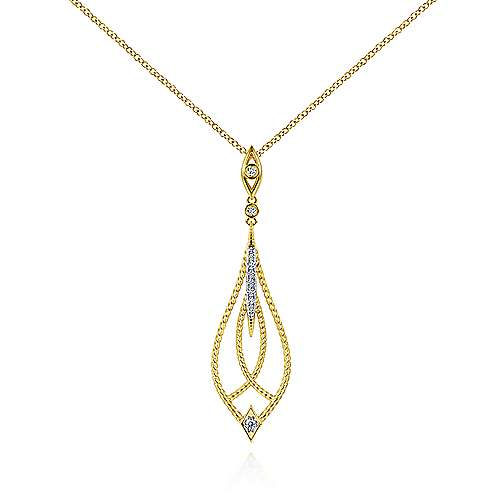 14K Yellow Gold Open Teardrop Pendant Necklace with Diamond Accents