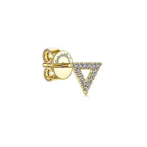 14K Yellow Gold Open Triangle Diamond Stud Single Earring