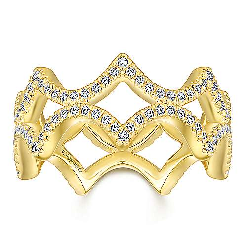 14K Yellow Gold Open Triangular Diamond Eternity Ring