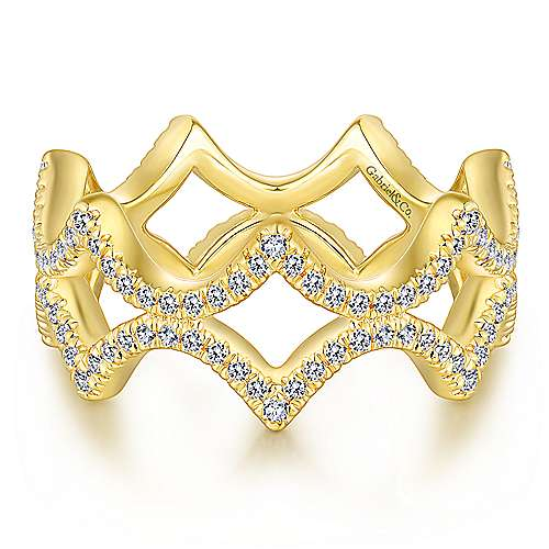 14K Yellow Gold Open Triangular Diamond Eternity Ring