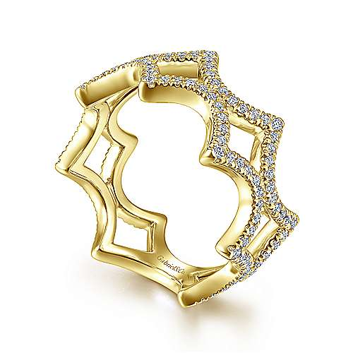 14K Yellow Gold Open Triangular Diamond Ring