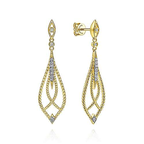 14K Yellow Gold Open Twisted Rope Drop Earrings with Diamond Accents