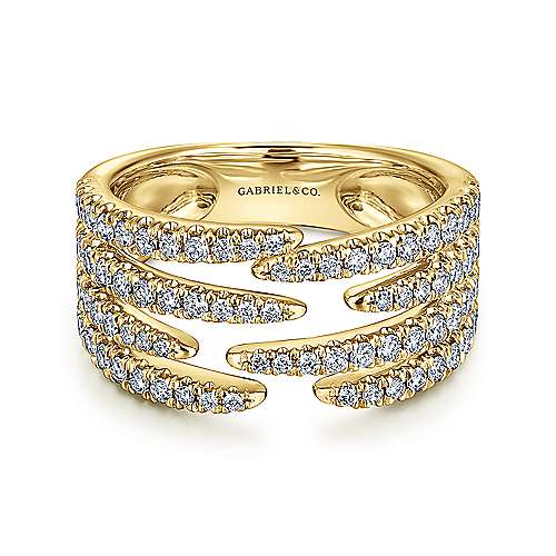 14K Yellow Gold Open Wide Band Pavé Diamond Ring