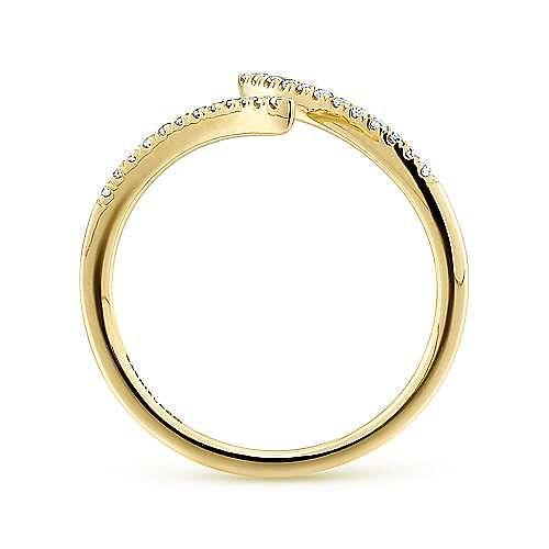 14K Yellow Gold Open Wrap Bypass Diamond Ring