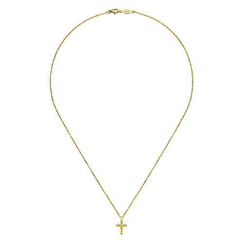 14K Yellow Gold Openwork Diamond Cross Necklace