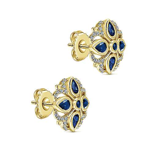14K Yellow Gold Openwork Diamond and Sapphire Quatrefoil Stud Earrings