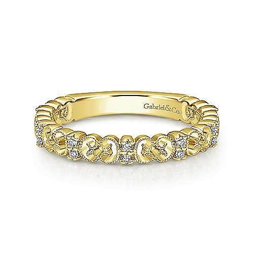 14K Yellow Gold Ornate Millgrain Diamond Ring