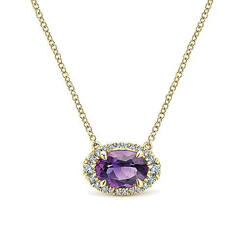 14K Yellow Gold Oval Amethyst and Diamond Halo Pendant Necklace