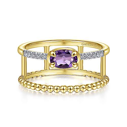 14K Yellow Gold Oval Amethyst and Diamond Split Shank Ring