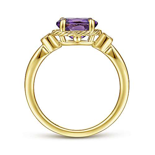 14K Yellow Gold Oval Amethyst and Diamond Three Stone Ring