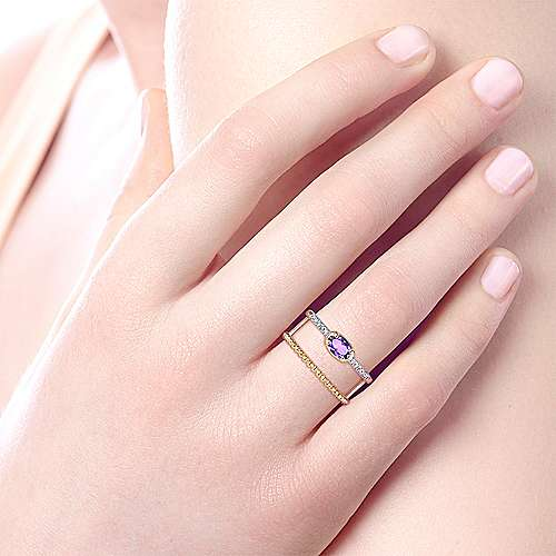 14K Yellow Gold Oval Amethyst and Diamond Two Row Ring