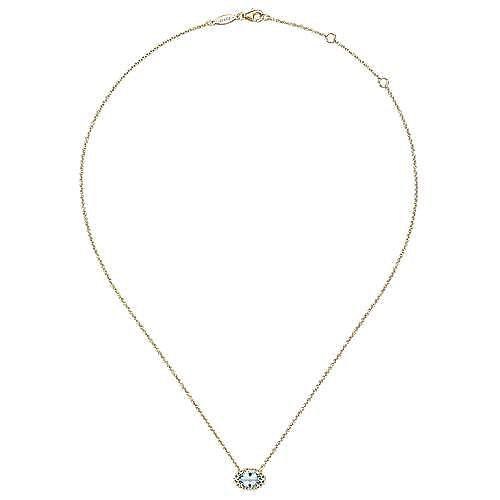 14K Yellow Gold Oval Aquamarine and Diamond Halo Pendant Necklace