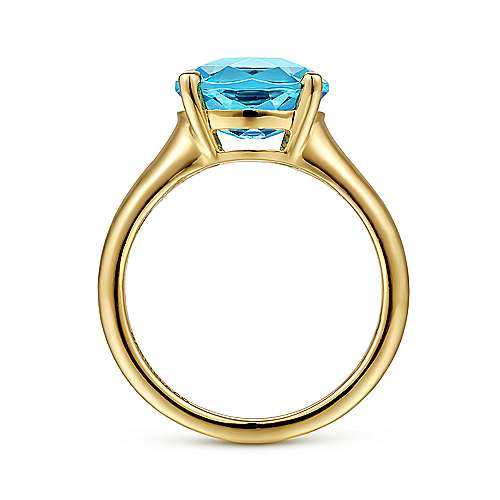 14K Yellow Gold Oval Blue Topaz Fashion Ring