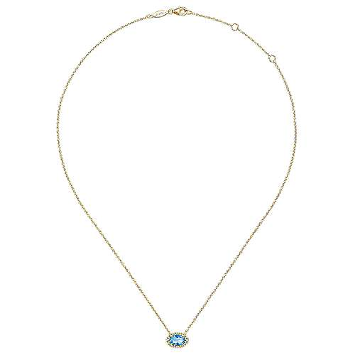 14K Yellow Gold Oval Blue Topaz and Diamond Halo Pendant Necklace