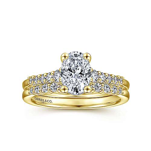 14K Yellow Gold Oval Diamond Engagement Ring
