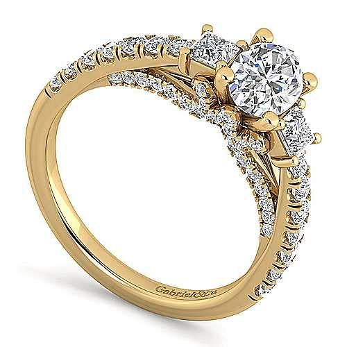 14K Yellow Gold Oval Diamond Engagement Ring