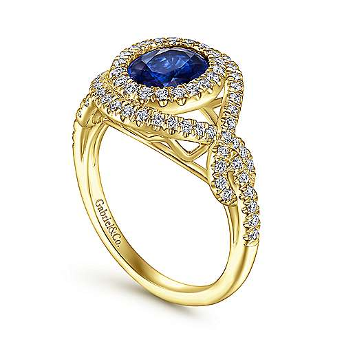 14K Yellow Gold Oval Double Halo Sapphire and Diamond Engagement Ring