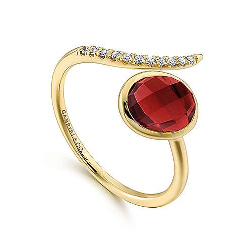 14K Yellow Gold Oval Garnet and Diamond Bypass Split Ring