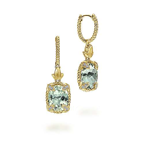 14K Yellow Gold Oval Green Amethyst Drop Earrings with Twisted Rope Details