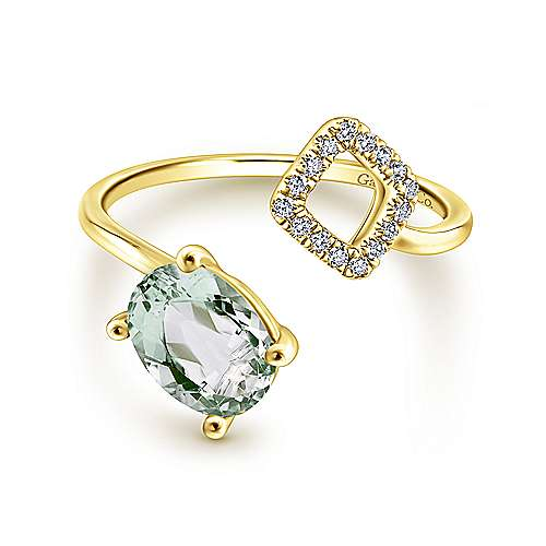 14K Yellow Gold Oval Green Amethyst and Diamond Open Wrap Ring