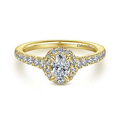 14K Yellow Gold Oval Halo Complete Diamond Engagement Ring