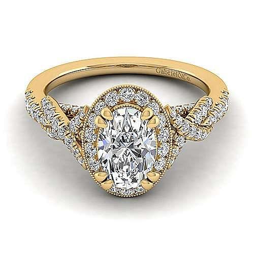 14K Yellow Gold Oval Halo Diamond Engagement Ring