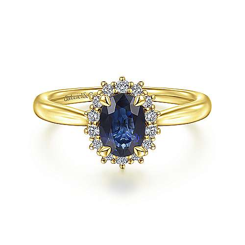 14K Yellow Gold Oval Halo Sapphire and Diamond Engagement Ring