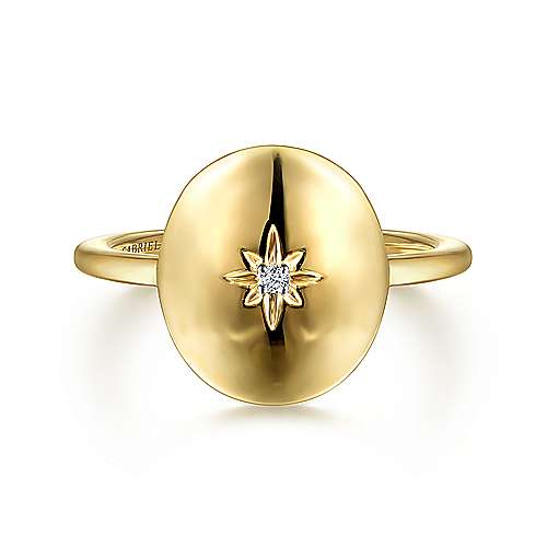14K Yellow Gold Oval Medallion Ring with Diamond Star Center
