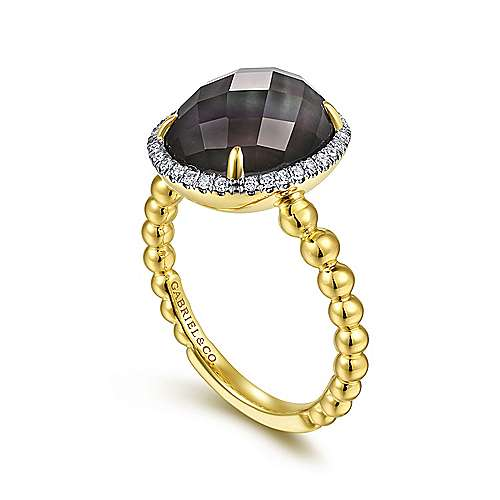 14K Yellow Gold Oval Rock Crystal/Black Pearl and Diamond Halo Ring