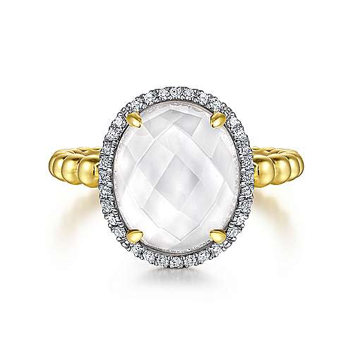14K Yellow Gold Oval Rock Crystal/MOP and Diamond Halo Ring