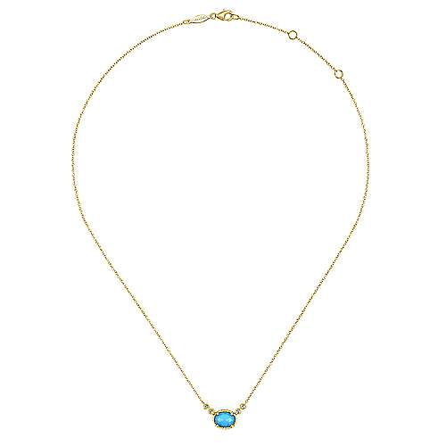 14K Yellow Gold Oval Rock Crystal/Turquoise and Diamond Pendant Necklace