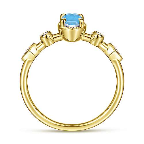 14K Yellow Gold Oval Rock Crystal/Turquoise and Diamond Station Ring